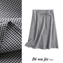 skirt Autumn 2020 S,M,L houndstooth  Middle-skirt Retro High waist A-line skirt houndstooth  Type A TRAF cotton