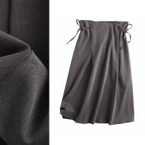 skirt Spring 2021 S,M,L Dark grey, black longuette commute High waist A-line skirt Solid color Type A 25-29 years old More than 95% TRAF polyester fiber pocket Simplicity