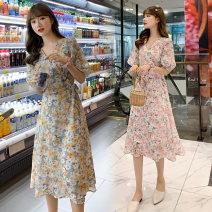 Nursing clothes Collection and purchase ⭐ Priority delivery, light blue orange, summer dream powder, light blue orange (high quality version), summer dream powder (high quality version) M,L,XL,2XL Other / other Oblique lapel summer Short sleeve Medium length Korean version Dress Plants and flowers