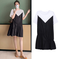 Dress Other / other Black, collection and purchase ⭐ Priority delivery, Caramel M,L,XL,XXL Korean version Short sleeve Medium length summer other Solid color polyester fiber