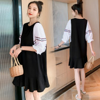 Dress Other / other Collection and purchase ⭐ Priority delivery, black pregnant women, black lactation M,L,XL,XXL Korean version Short sleeve Medium length summer Crew neck Solid color
