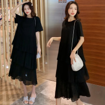 Dress Other / other Black, collection and purchase ⭐ Priority shipping, black (quality version) M,L,XL,XXL Korean version Short sleeve Medium length summer Crew neck Solid color