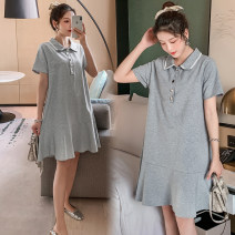 Dress Other / other Grey, black, collection and purchase ⭐ priority in delivery M,L,XL,XXL Korean version Short sleeve routine summer Lapel Solid color