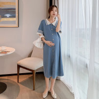 Dress Other / other Blue, collection and purchase ⭐ Priority delivery, blue (quality version) M,L,XL,XXL Korean version Short sleeve Medium length summer Lapel Solid color