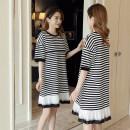 Dress Other / other Black, stripe, stripe (premium), black (premium) M,L,XL,XXL Korean version elbow sleeve routine summer Crew neck stripe