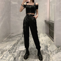 Casual pants S,M,L,XL Summer of 2019 trousers Overalls High waist street 18-24 years old cotton pocket cotton Hip hop