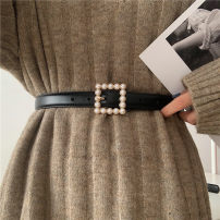 Belt / belt / chain Pu (artificial leather) Square buckle gold, circle Silver female belt Versatile Single loop Youth, youth Pin buckle Diamond inlay Glossy surface 2.3cm alloy Naked, inlaid Other / other Round pearl belt with square buckle