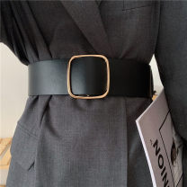 Belt / belt / chain Pu (artificial leather) Black, Khaki female belt Versatile Single loop Youth, youth Smooth button Glossy surface Glossy surface 6.3cm alloy Other / other 6.3 wide solid waist cover