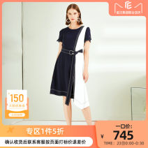 Dress Spring 2020 Dark cyan S M L XL Mid length dress singleton  Short sleeve commute Crew neck middle-waisted Socket Irregular skirt routine 35-39 years old Type A CADIDL Ol style Bandage CF01410Q7 More than 95% polyester fiber Polyester 100% Same model in shopping mall (sold online and offline)