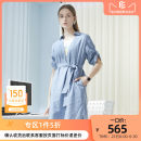 Dress Spring 2020 Zhongqun cyan S M L XL Mid length dress singleton  Short sleeve commute V-neck High waist Solid color Socket A-line skirt routine Others 35-39 years old Type H CADIDL literature CF02003N5 81% (inclusive) - 90% (inclusive) Chiffon cotton Cotton 84% flax 16%