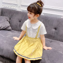 Dress summer Korean version other Pleats Solid color Summer 2021 female ConnyStyle Other 100% 6 years old, 7 years old, 8 years old, 9 years old, 10 years old, 11 years old, 12 years old, 13 years old and 14 years old Short sleeve FA065.. white 105cm 110cm 120cm 130cm 140cm 150cm 160cm