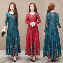 Dress Spring 2020 Red, green M,L,XL,2XL,3XL,4XL longuette singleton  Long sleeves commute Crew neck High waist Big flower Socket Big swing routine Others 40-49 years old Type A Wave flash Korean version printing LYQ20A05 More than 95% other polyester fiber