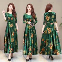 Dress Spring 2020 green M,L,XL,2XL,3XL,4XL longuette singleton  Long sleeves commute V-neck High waist Decor Socket Big swing routine Others 40-49 years old Type A Korean version printing LYQ19-70 More than 95% other polyester fiber