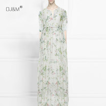 Dress Summer 2021 longuette singleton  three quarter sleeve street V-neck Loose waist Decor Socket other other Others Type H DJ&M fold More than 95% Silk and satin silk Europe and America