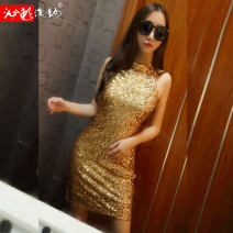 Dress Spring of 2018 Black gold M S Miniskirt singleton  Sleeveless commute Half high collar middle-waisted Solid color Socket One pace skirt other Hanging neck style 25-29 years old Type X Bleeding color flowing yarn Korean version Sequins More than 95% other polyester fiber Polyester 100%