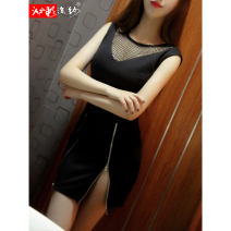 Dress Autumn 2020 black S M L Short skirt singleton  Sleeveless commute Crew neck middle-waisted Solid color zipper Pencil skirt other Others 25-29 years old Type X Bleeding color flowing yarn Korean version Hollow zipper LW7541C20 More than 95% other polyester fiber Pure e-commerce (online only)
