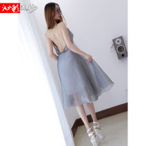 Dress Summer of 2019 silver gray S M L XL Short skirt singleton  Sleeveless street Crew neck High waist Solid color Socket Big swing other camisole 25-29 years old Type X Bleeding color flowing yarn backless More than 95% other polyester fiber Polyester 100% Pure e-commerce (online only)