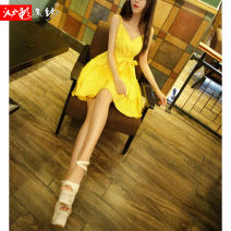 Dress Summer of 2018 Black red yellow S M L XL Short skirt singleton  Sleeveless commute V-neck middle-waisted Solid color Socket Big swing other camisole 25-29 years old Type X Bleeding color flowing yarn Korean version backless LH2057B18 More than 95% other cotton Pure e-commerce (online only)