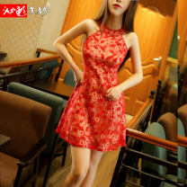 Dress Summer of 2018 Black red S M L XL Short skirt singleton  Sleeveless commute Crew neck middle-waisted other Socket A-line skirt other Hanging neck style 25-29 years old Type X Bleeding color flowing yarn Korean version Lace back 31% (inclusive) - 50% (inclusive) other nylon