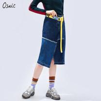 skirt Autumn of 2019 S M L XL Denim Mid length dress commute Natural waist Irregular 25-29 years old More than 95% Osnic / o'shangni cotton Asymmetric button zipper stitching in tassel pocket Korean version Cotton 100%