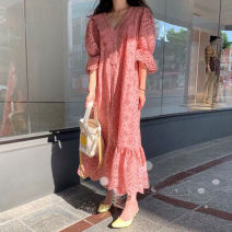 Dress Summer 2021 Pink, khaki, white Average size longuette singleton  elbow sleeve commute V-neck Loose waist Solid color Socket Ruffle Skirt Lotus leaf sleeve Retro More than 95% Lace cotton