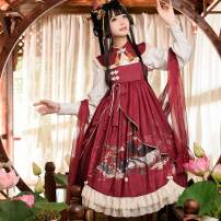 Dress Autumn 2020 Suspender skirt [pre-sale], shirt [pre-sale], Cape [pre-sale], silk [pre-sale], full set [silk shawl shirt jsk Cape] S. M, l, average size Mid length dress other Sweet Type A Lolita