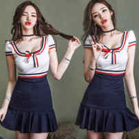 Dress Spring 2020 white S,M,L,XL Middle-skirt singleton  Short sleeve commute Crew neck middle-waisted other zipper Ruffle Skirt other Others 18-24 years old Type H Ezrin Korean version zipper Goz6c 51% (inclusive) - 70% (inclusive) other other