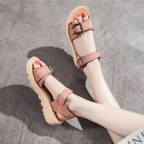 Sandals 35 36 37 38 39 Yellow pink ISM&CJ Double skin mulching Barefoot Muffin bottom Middle heel (3-5cm) Summer of 2018 Velcro Korean version Solid color Adhesive shoes Youth (18-40 years old) polyurethane motion Back space Metal decorative belt buckle Low Gang Hollow Microfiber skin 0256 wax