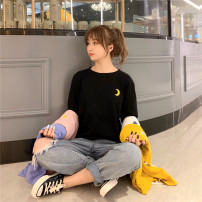 T-shirt Black, yellow, blue, white, pink 2XL,M,L,XL Spring 2021 Long sleeves Crew neck easy Regular routine commute polyester fiber 96% and above 18-24 years old Korean version other scenery