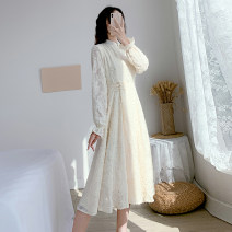 Dress Spring 2021 Off white S,M,L,XL,2XL longuette singleton  Long sleeves commute stand collar High waist Solid color A button A-line skirt pagoda sleeve Others 25-29 years old Type A Retro Splicing