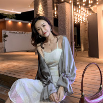 Lace / Chiffon Spring 2021 Apricot, grey, pink Average size Long sleeves Versatile Cardigan singleton  easy Super short V-neck Solid color pagoda sleeve 25-29 years old Pleating 30% and below polyester fiber