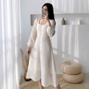 Dress Spring 2021 Picture color S,M,L,XL,XS Miniskirt singleton  Long sleeves commute square neck High waist Solid color zipper Big swing puff sleeve Others 25-29 years old Type A Retro 31% (inclusive) - 50% (inclusive) polyester fiber