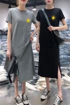 Dress Summer 2021 Gray, black M,L,XL,2XL,3XL longuette singleton  Short sleeve commute Crew neck Cartoon animation Socket A-line skirt routine 18-24 years old Type A Korean version