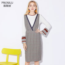 Dress Autumn of 2019 Grey grid S M L Middle-skirt singleton  Sleeveless commute V-neck High waist lattice Socket A-line skirt straps 25-29 years old Prosilu / bosno lady CHLB2963 71% (inclusive) - 80% (inclusive) polyester fiber Polyester 71% viscose (viscose) 26% polyurethane elastic (spandex) 3%
