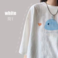 T-shirt S,M,L,XL,2XL,3XL Summer 2021 Short sleeve Crew neck easy Regular routine commute cotton 51% (inclusive) - 70% (inclusive) 18-24 years old Korean version youth Cartoon, cartoon, animal pattern printing