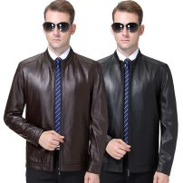 leather clothing Others Business gentleman Black, brown 170/M,175/L,180/XL,185/XXL,190/XXXL Medium length Leather clothes stand collar Slim fit zipper winter leisure time middle age Business Casual Straight hem other other