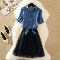 Dress Spring of 2019 S,M,L,XL,2XL,3XL,4XL Mid length dress Two piece set elbow sleeve Polo collar High waist Solid color Single breasted A-line skirt routine camisole 25-29 years old Type A Panel, button, mesh More than 95% other cotton