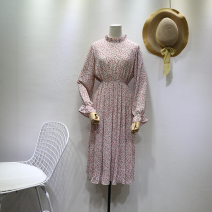 Dress Spring 2020 Average size Mid length dress singleton  Long sleeves commute Lotus leaf collar Elastic waist Broken flowers A button other other Others 18-24 years old Type H Korean version 81% (inclusive) - 90% (inclusive) Chiffon other