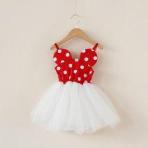 Dress Red, black female Other / other 100cm,110cm,120cm,130cm,140cm Cotton 90% other 10% summer princess Skirt / vest Dot cotton other Class A 18 months, 2 years old, 3 years old, 4 years old, 5 years old, 6 years old, 7 years old