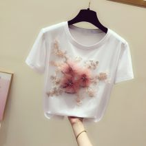 T-shirt white S,M,L,XL Summer 2021 Short sleeve Crew neck easy Regular routine commute cotton 96% and above 18-24 years old Korean version youth Plants and flowers Three dimensional decoration, embroidery