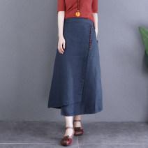 skirt Autumn 2020 M,L,XL Navy, brick red, hemp Mid length dress commute Natural waist A-line skirt Solid color Type A More than 95% hemp literature