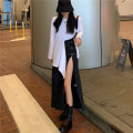 Fashion suit Spring 2021 S. M, l, average size White T-shirt, black skirt 18-25 years old