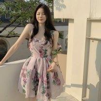 Dress Summer 2021 Decor S, M Short skirt singleton  Sleeveless commute square neck High waist Decor A-line skirt camisole 18-24 years old Type A Korean version HB