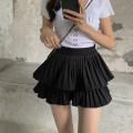 skirt Summer 2021 S,M,L White, black Short skirt commute High waist Cake skirt Solid color Type A 18-24 years old XY fold Korean version