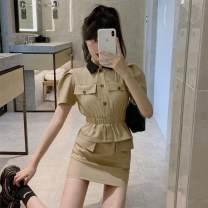 Dress Summer 2021 khaki S,M,L Short skirt singleton  Short sleeve commute Polo collar High waist Solid color One pace skirt Others Type H Retro