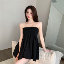 Dress Summer 2021 White, black Average size Miniskirt singleton  High waist Pleated skirt Type A 30% and below knitting acrylic fibres