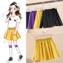 skirt 110, 120, 130, 140, 150, 160 Black, yellow Other / other female Cotton 95% polyurethane elastic fiber (spandex) 5% No season skirt Korean version Solid color A-line skirt cotton Class B