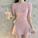 Dress Summer of 2019 Average size Mid length dress singleton  Short sleeve Sweet Crew neck High waist Solid color Socket A-line skirt routine Others Type A Other / other Ruili
