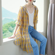 shirt Yellow, Navy, pink M,L,XL Summer 2021 other 96% and above Long sleeves commute Short style (40cm < length ≤ 50cm) V-neck routine Dot 25-29 years old Self cultivation Jiuzi JC  A352-79-158 Button, 3D, stitching, lace up, hollow out, ruffle, fold