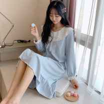 Nightdress Xiaomengmeng's appointment 16-1097la solid lace blue, 16-1097fe solid Lace Pink, 16-1098la solid cut lace blue, 16-1098fe solid cut lace pink, 16-1098ls solid cut lace green, 16-1099la sunflower blue, 16-1099fe sunflower pink, 16-1099ls sunflower green 160(M),165(L),170(XL) Sweet pajamas